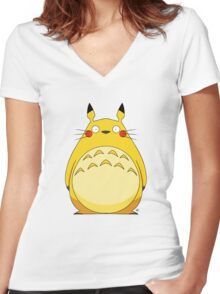 Totoro Pikachu Women's Fitted V-Neck T-Shirt