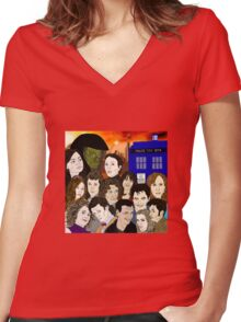 A time lords family Women's Fitted V-Neck T-Shirt