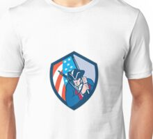 American Patriot Holding Brandish Flag Shield Retro Unisex T-Shirt