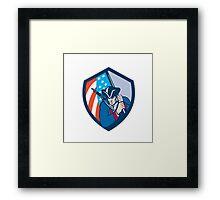 American Patriot Holding Brandish Flag Shield Retro Framed Print