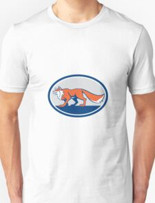 Red Fox Pouncing Side Oval Retro Unisex T-Shirt