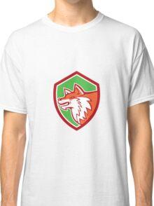 Red Fox Head Pouncing Shield Retro Classic T-Shirt