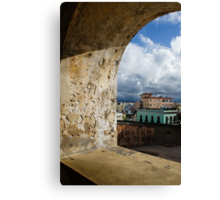 Caribbean Colors of San Juan, Puerto Rico From a Window of San Cristobal Castle Canvas Print