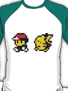 Ash & Pikachu Pixel Design - Gameboy T-Shirt