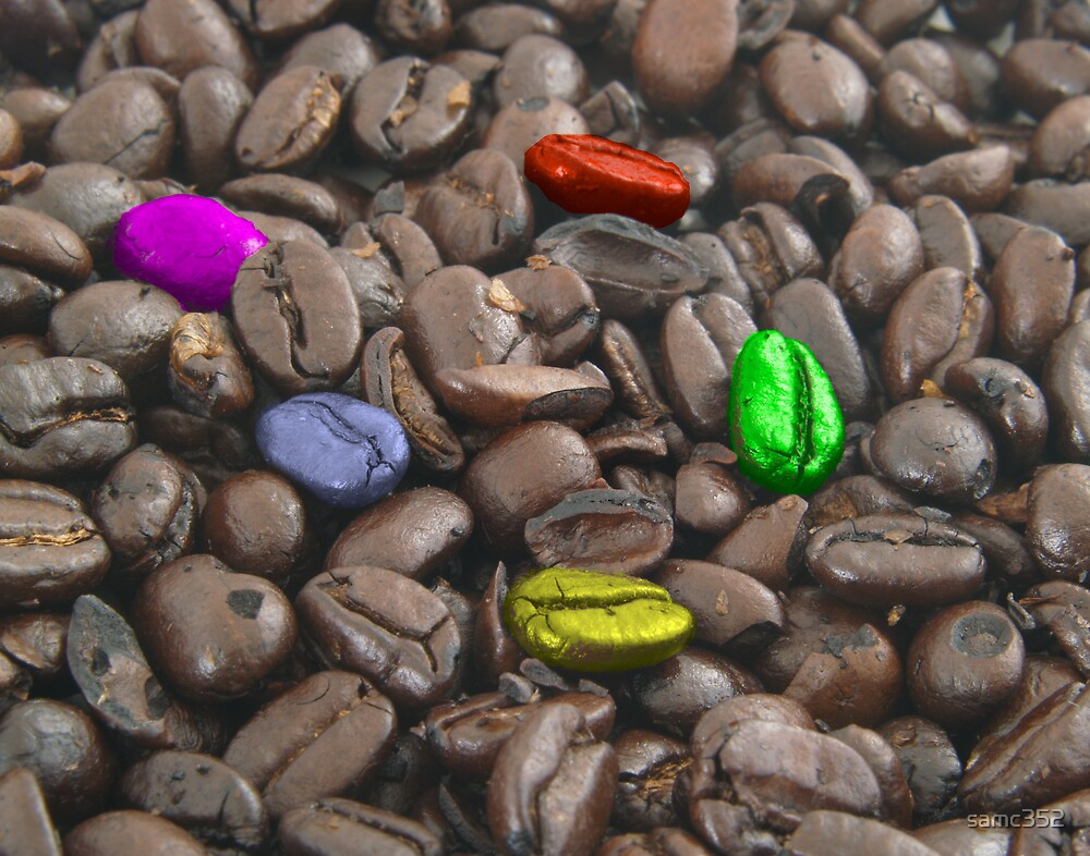 colorful coffee beans by samc352