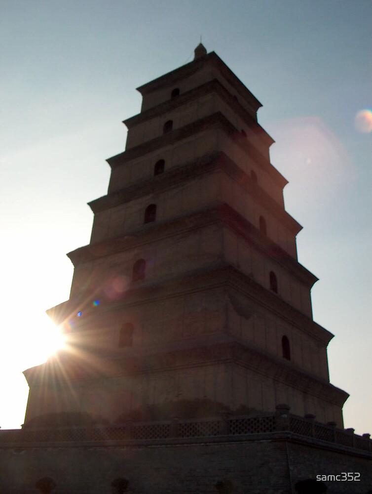 big goose pagoda with sun by samc352