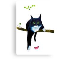 Cute Tuxedo Cat Canvas Print