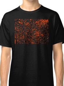 Orange and Black Tree Branches and Leaves Abstract Design Classic T-Shirt