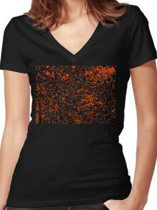 Orange and Black Tree Branches and Leaves Abstract Design Women's Fitted V-Neck T-Shirt