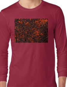 Orange and Black Tree Branches and Leaves Abstract Design Long Sleeve T-Shirt