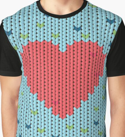 Knitted pattern with heart Graphic T-Shirt