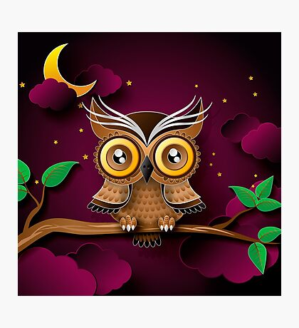 Cute Owls on Colorful Branches green purple                                             Photographic Print