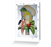 Winter Wonderland Bird Sitting On Vintage Street Lantern Greeting Card