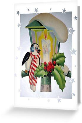 Winter Wonderland Bird Sitting On Vintage Street Lantern by taiche
