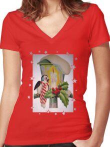 Winter Wonderland Bird Sitting On Vintage Street Lantern Women's Fitted V-Neck T-Shirt