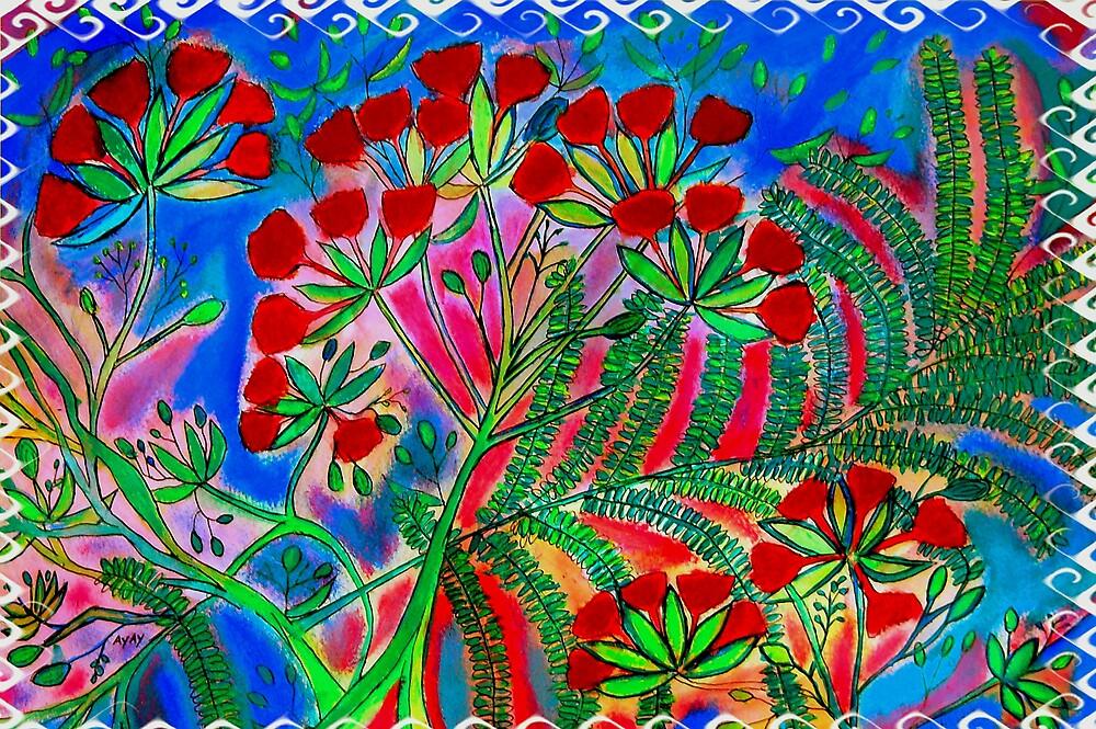 Flambouyants in bloom,Virgin Islands by Ted Hebbler