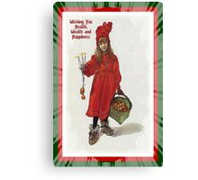 Wishing You Health Wealth and Happiness Greeting Card Canvas Print