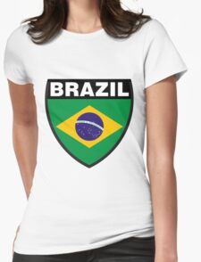Brazil Flag and Shield Womens Fitted T-Shirt