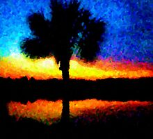 Psalm Tree Sunset Shadows by traceywaters