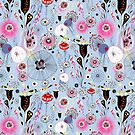 fantastic floral pattern with birds by Tanor