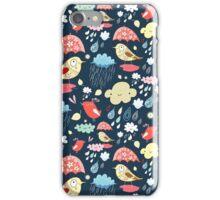 birds under umbrellas and rain iPhone Case/Skin