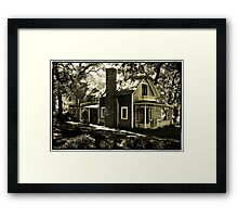Wooden House & Flag, Martha's Vineyard, New England Framed Print