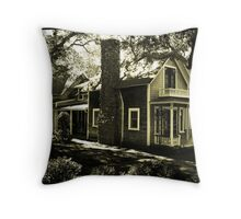 Wooden House & Flag, Martha's Vineyard, New England Throw Pillow