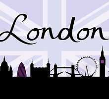 London Script on Union Jack Sky & Sites Purple by NataliePaskell