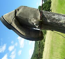 boot on fencepost by CaseyMarie