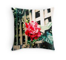 Bleached Red Flower Throw Pillow
