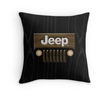 Jeep Willys ~ Wood [Black] Throw Pillow