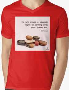 He who moves a Mountain... Mens V-Neck T-Shirt