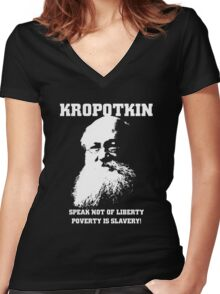 Kropotkin - Poverty is Slavery Women's Fitted V-Neck T-Shirt