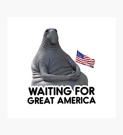 Waiting for Great America - Trump, Funny policy design, comic mem Photographic Print