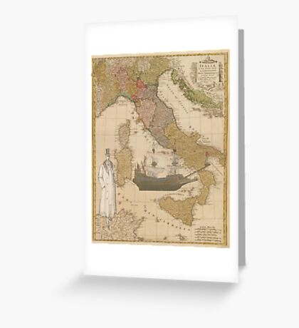 Steampunk Inspired Map: Man & French Galleon Ship Greeting Card