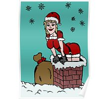 Sexy Santa Claus falling from chimney Poster