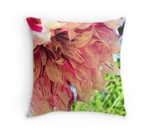 Purple-Streaked Pink Flower Throw Pillow