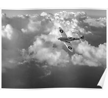 Soaring silver Spitfire black and white version Poster