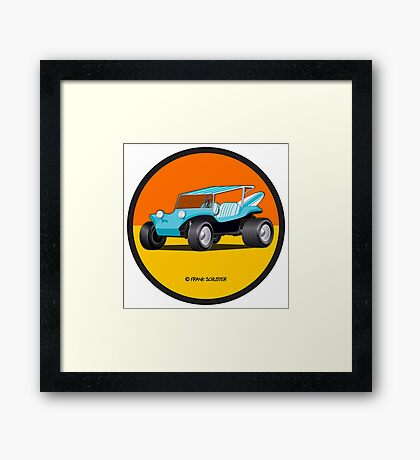 Dune Buggy Turquoise in Circle Framed Print