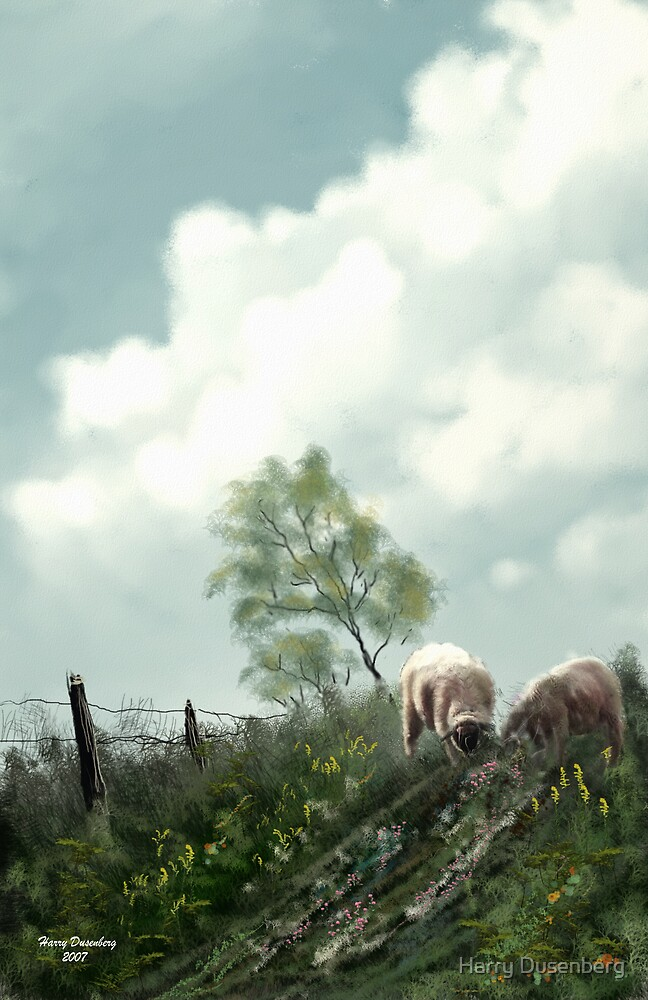 Sheep On The Hill by Harry Dusenberg