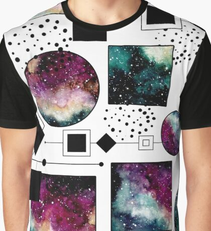 Watercolor Galaxy in Squares and Circles Graphic T-Shirt