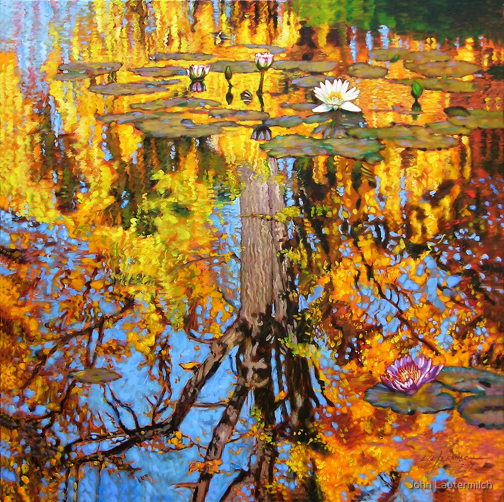 """Golden Reflections on Lily Pond"" by John Lautermilch"