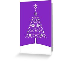 Christmas Tree Made Of Snowflakes On Violet Background Greeting Card
