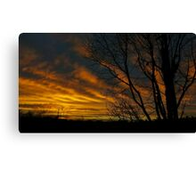 Red Sky Silhouette Canvas Print