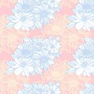 fine line flowers pattern blue and yellow on pink by kanvisstyle