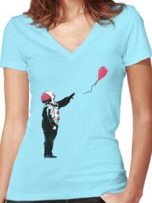 Balloon Clown Women's Fitted V-Neck T-Shirt