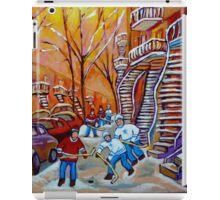CANADIAN PAINTINGS WINTER SCENERY HOCKEY ART NEAR WINDING STAIRCASES CAROLE SPANDAU iPad Case/Skin