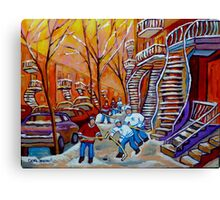CANADIAN PAINTINGS WINTER SCENERY HOCKEY ART NEAR WINDING STAIRCASES CAROLE SPANDAU Canvas Print