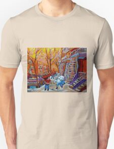 CANADIAN PAINTINGS WINTER SCENERY HOCKEY ART NEAR WINDING STAIRCASES CAROLE SPANDAU Unisex T-Shirt