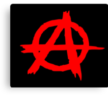 ANARCHY SYMBOL (RED ON BLACK) Canvas Print
